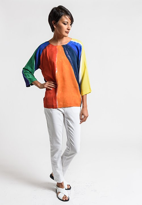 Daniela Gregis Special Print Silk Top in Multi-Color
