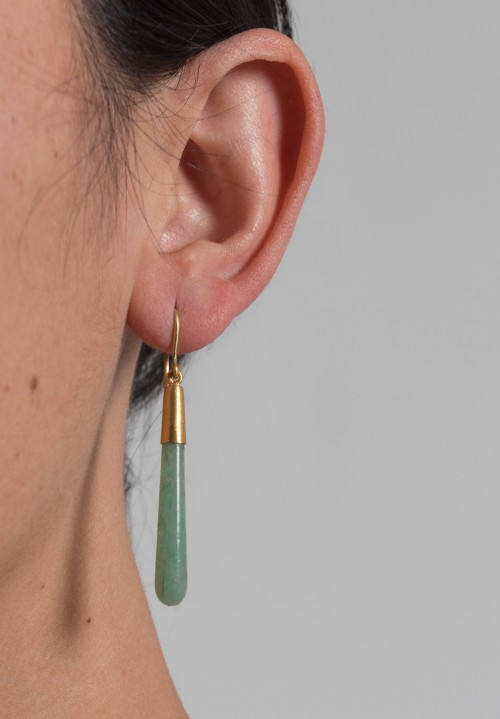 Yossi Harari Green Aventurine & 24K Drop Earrings