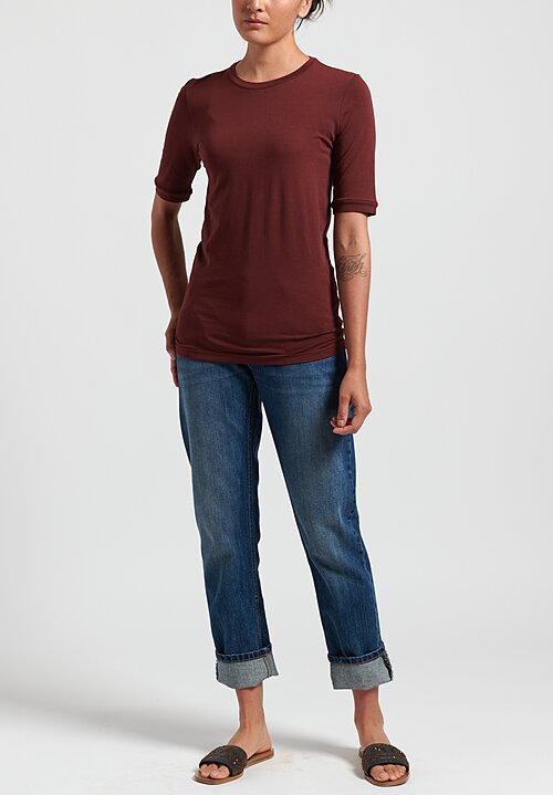 Brunello Cucinelli Stretch Cotton Short Sleeve Top in Merlot
