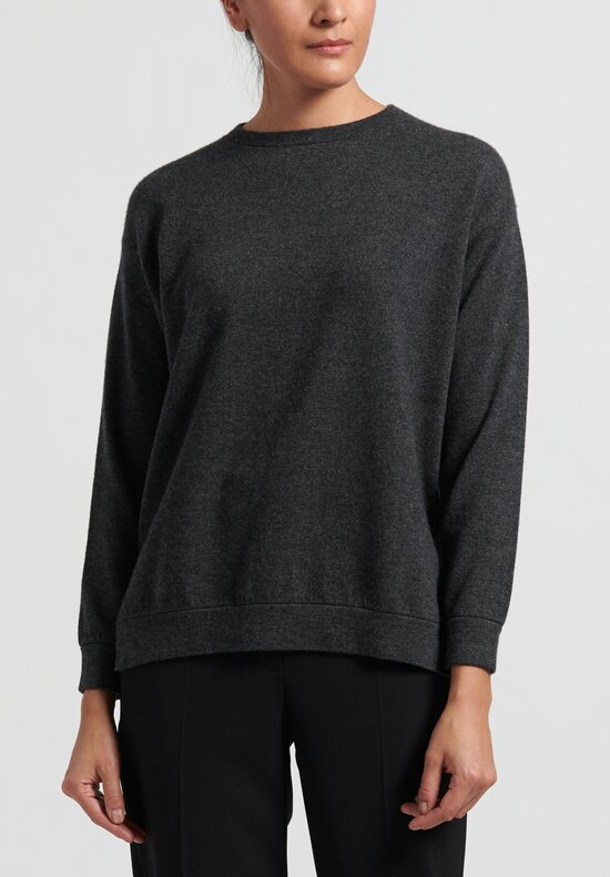 Brunello Cucinelli Cashmere Boxy Sweater in Grey