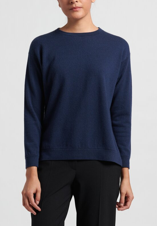 Brunello Cucinelli Boxy Sweater in Navy Blue
