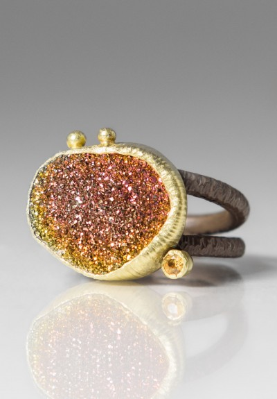 Maria Frantzi Rainbow Pyrite Druzie and Yellow Sapphire Ring