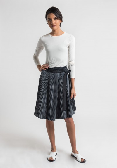Sacai Pleated Dungaree Wrap Skirt in Grey