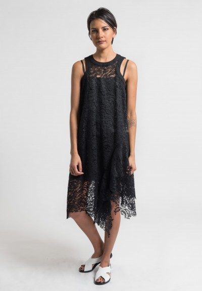 Sacai Floral Lace Dress in Black