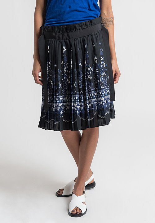 Sacai Pleated Tribal Print Skort in Black