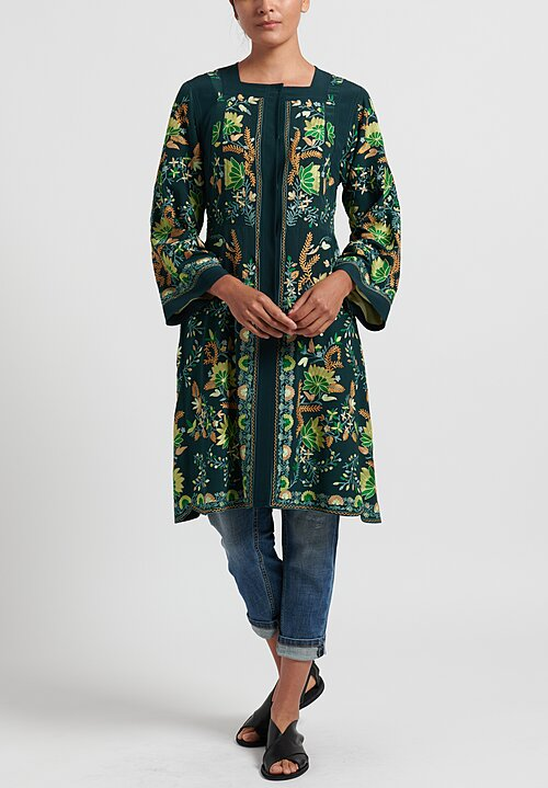 Etro Hand Embroidered Silk Long Jacket in Dark Jade