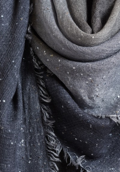 Faliero Sarti Grey Ombre Scarf with Sequins