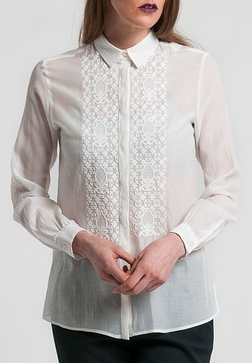 Etro Cotton/Silk Sheer Embroidered Shirt in White