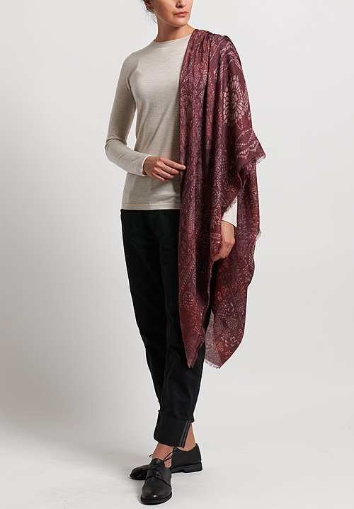 Alonpi Cashmere Cashmere/Silk Printed Scarf in Nikki Red