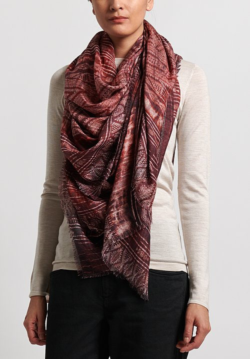 Alonpi Cashmere Printed Scarf in Greca Red