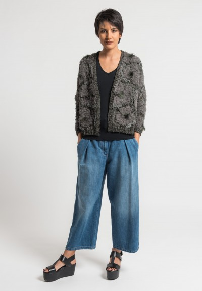 Brunello Cucinelli Intarsia & Flower Embroidery Cardigan in Military