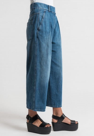 Brunello Cucinelli Cropped Wide Leg Jeans in Medium Blue