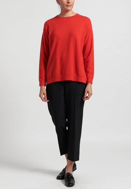 Brunello Cucinelli Cashmere Boxy Sweater in Bright Red