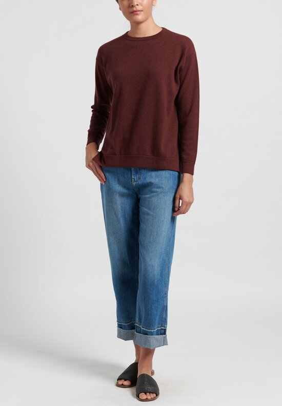 Brunello Cucinelli Cashmere Boxy Sweater in Merlot