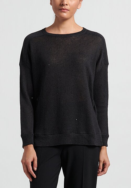 Brunello Cucinelli Linen/Silk Paillette Boxy Sweater in Charcoal Grey