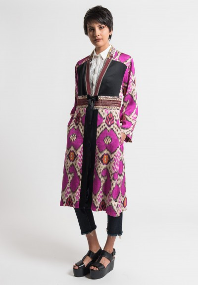 Etro Embroidered and Beaded Ikat Print Jacket in Pink