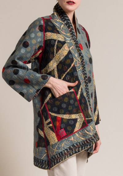 Mieko Mintz 4-Layer Dots & Paisley A-Line Jacket in Navy/Grey