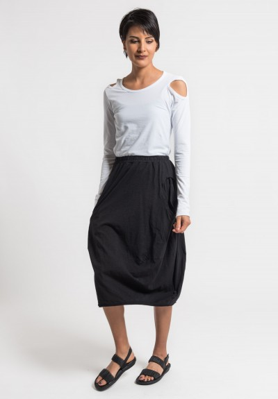 Rundholz Black Label Cotton Circle Pocket Tulip Skirt in Black