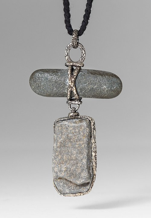 Lou Zeldis Sterling Silver & Grey Stones Necklace