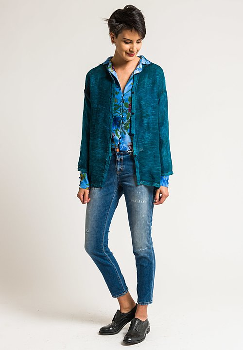 Avant Toi Linen/Cotton Mesh Shirt Jacket in Turquoise