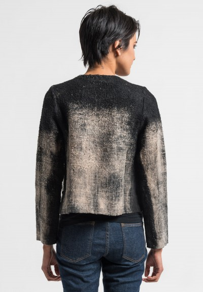 Avant Toi Linen Boucle Collarless Jacket in Carruba