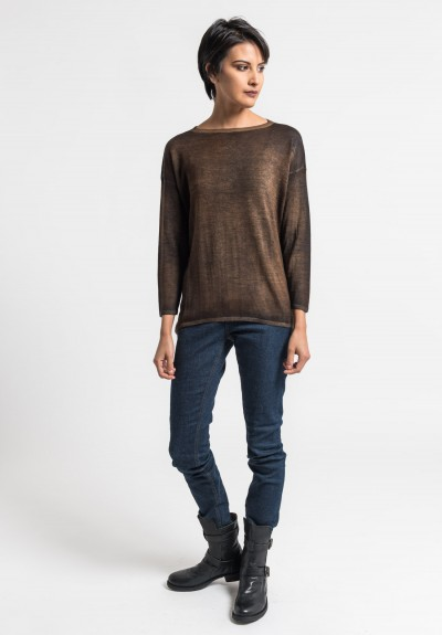 Avant Toi Lightweight Crew Neck Sweater in Cocoa