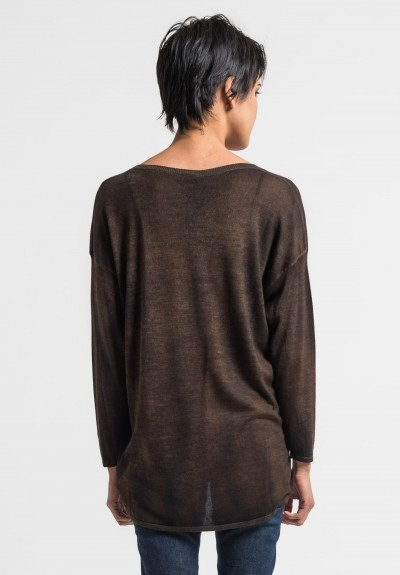 Avant Toi Lightweight V-Neck Sweater in Cocoa