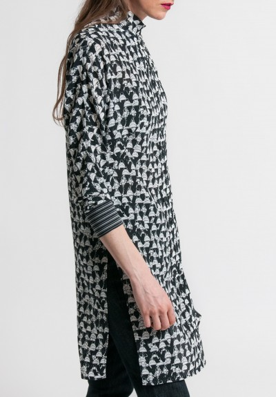 Akris Silk Crepe Handbag Print Tunic Dress in Black/Cremello