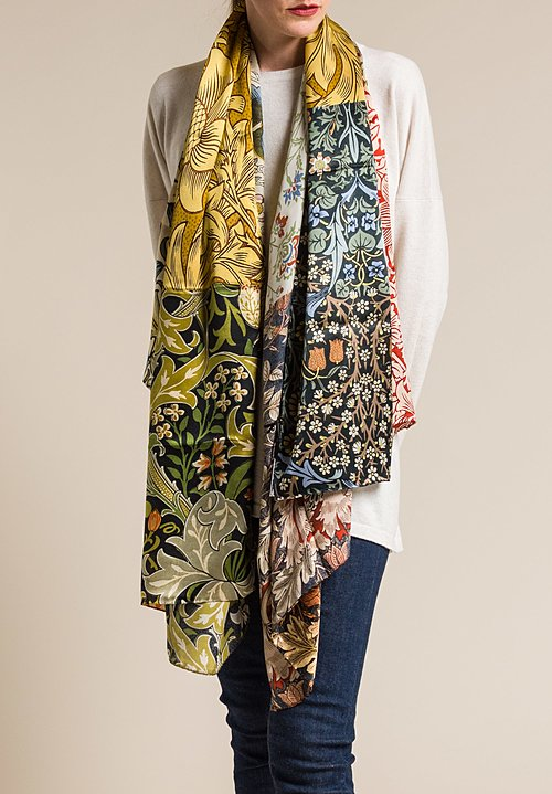 Benny Setti Silk Satin Patchwork Print Scarf in Natural