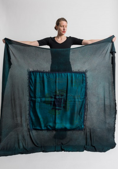 Avant Toi Jumbo Felted Silk Belts Print Shawl in Turquoise