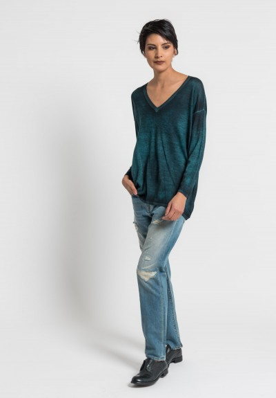 Avant Toi Lightweight V-Neck Sweater in Turquoise