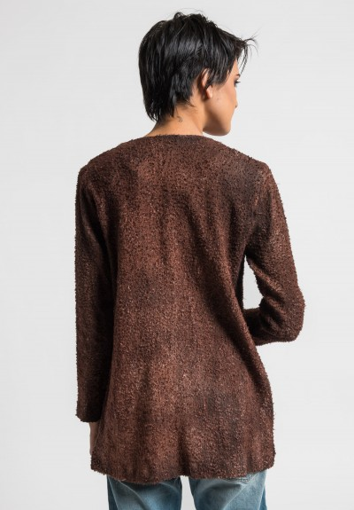 Avant Toi Linen/Cotton Boucle Collarless Jacket in Cocoa