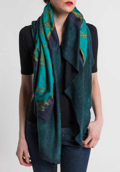 Avant Toi Felted Silk Saddle & Stirrups Print Scarf in Turquoise