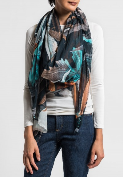 Som Les Dues Modal/Cashmere Amazonia Printed Scarf in Black