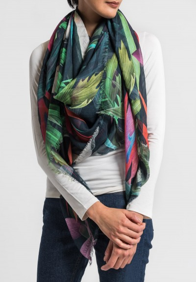 Som Les Dues Modal/Cashmere Red Passion Printed Scarf in Black