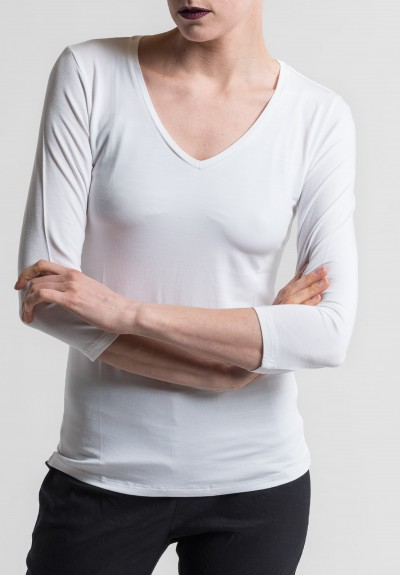 Majestic V-Neck 3/4 Sleeve Top in Blanc