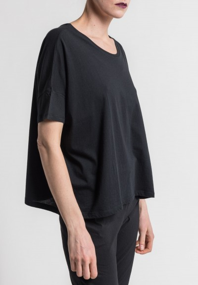 Majestic Extra-Fine Deluxe Cotton Oversized Tee in Noir