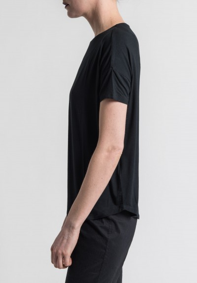 Majestic Extra-Fine Oversized Boat Neck Tee in Noir