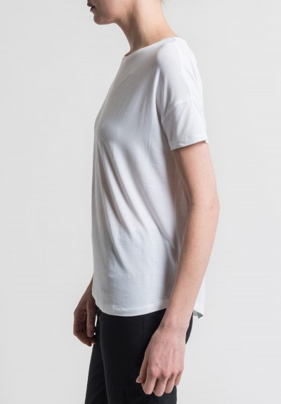 Majestic Extra-Fine Oversized Boat Neck Tee in Blanc