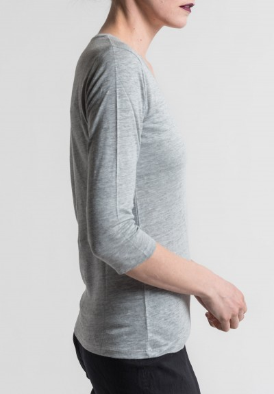 Majestic Linen/Silk V-Neck Long Sleeve Tee in Grie Chiné