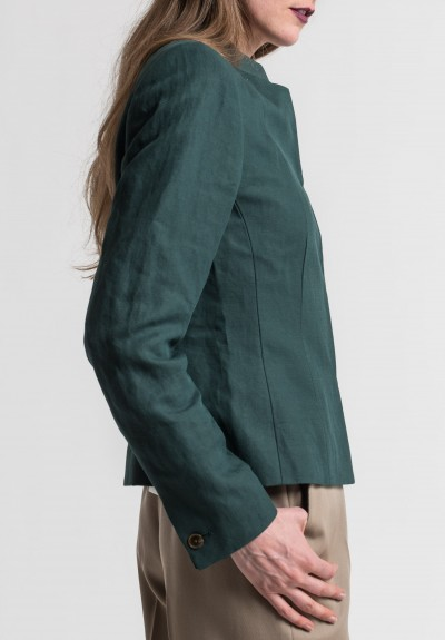 Pauw Linen/Cotton Tailored Blazer in Dark Emerald