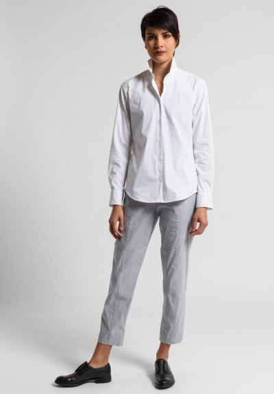 Peter O. Mahler Fitted Stretch Linen Cropped Pants in Metal