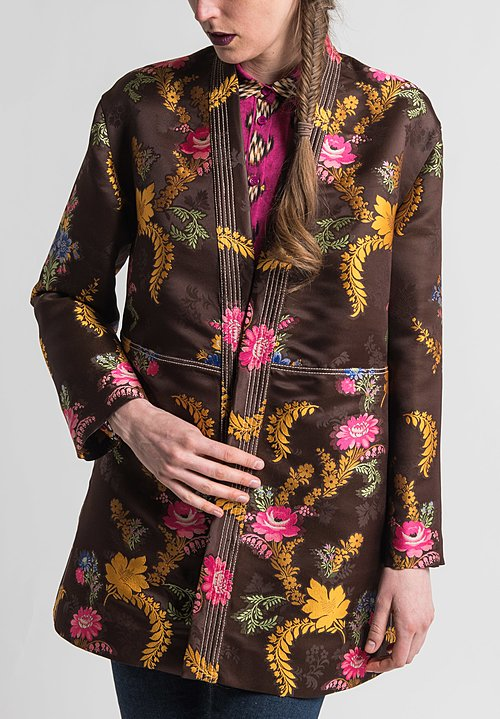 Etro Runway Relaxed Floral Jacquard Kimono Jacket in Brown