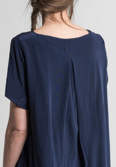 Casey Casey Silk George Dress in Chine Blue