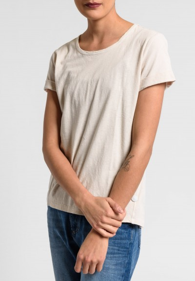 Paychi Guh Linen/Cotton Relaxed Baby Tee in Nude