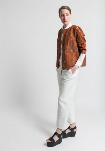 Akris Geometric Suede Isaline Jacket in Marron