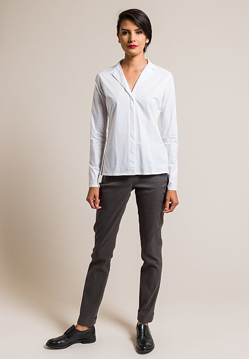 Lareida Cotton Stand Collar Catharina Shirt in White