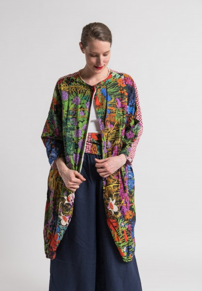 Daniela Gregis Reversible Cotton Floral/Plaid Jacket in Multicolor
