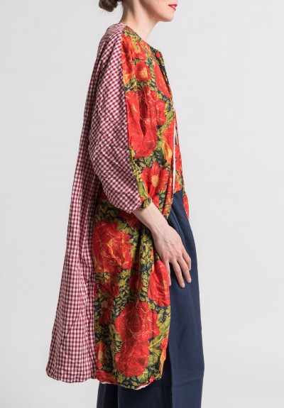 Daniela Gregis Cotton Red Rose Floral/Plaid Jacket in Multicolor