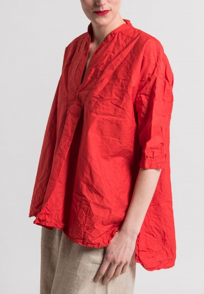 Daniela Gregis Washed Cotton Kora Top in Red